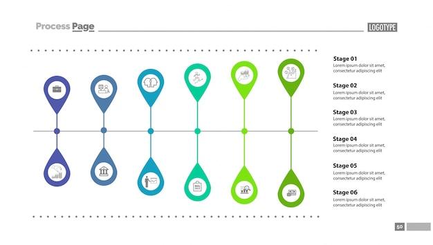 Szablon slajdu wykresu sześciu etapów
