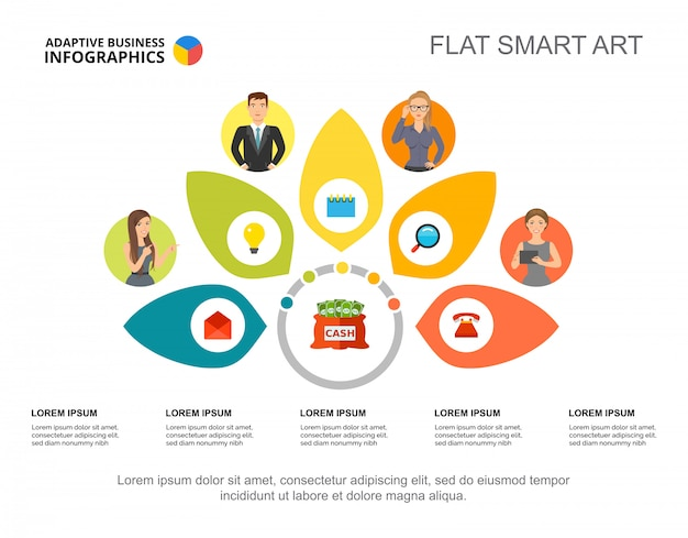 Szablon slajdu zarządzania. dane biznesowe. wykres, wykres. koncepcja kreatywnych infografikę