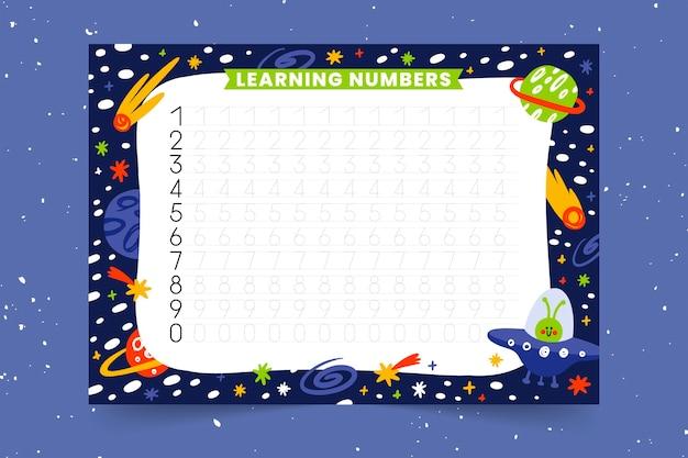 Szablon śledzenia numerów edukacyjnych dla dzieci