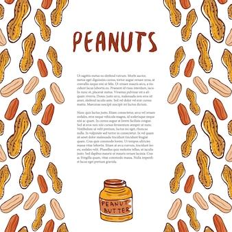 Szablon słodkie orzeszki ziemne. nakreślone orzechy ręcznie rysowane tło wektor. do projektowania opakowań, strona ze zdrową żywnością.