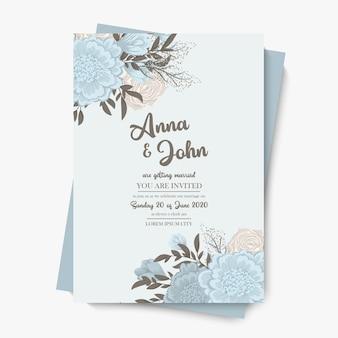 Szablon ślubu kwiatowy - jasnoniebieska ramka w kwiaty