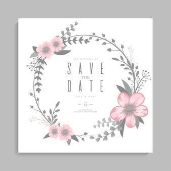 Szablon ślubu kwiatowy - różowy wieniec kwiatowy