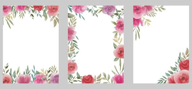 Szablon ślubu z bukietem kwiatów akwarela