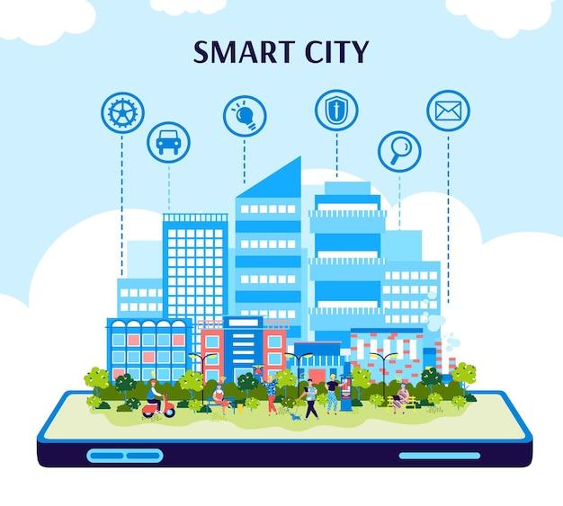Szablon smart city z panoramą miasta na ekranie telefonu komórkowego