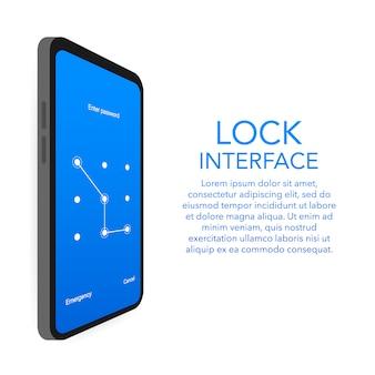 Szablon smartfona hasło uwierzytelniania blokady ekranu.