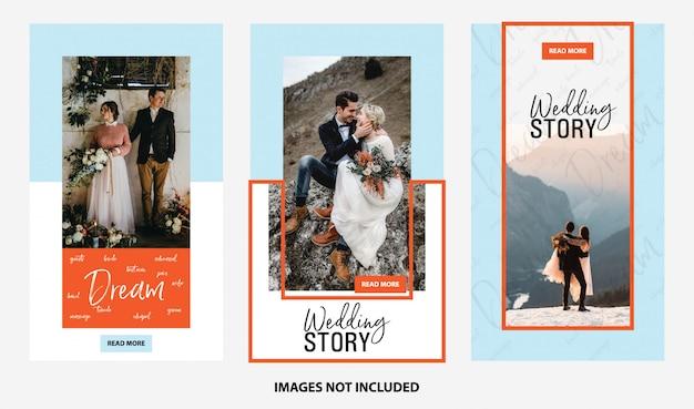 Szablon social media ślubu i opowieści na żywo
