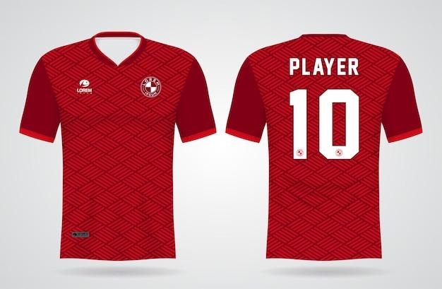 Szablon sportowej czerwonej koszulki do strojów drużynowych i projektu koszulki piłkarskiej