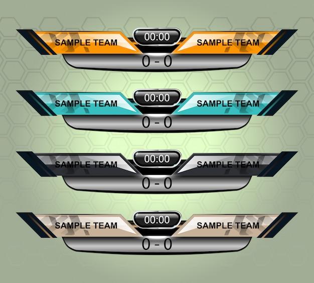 Szablon sportowej tablicy wyników dla piłki nożnej i piłki nożnej