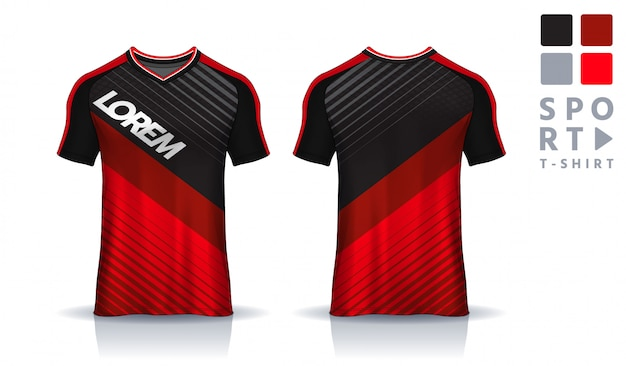 Szablon sportowy t-shirt, jednolity widok z przodu iz tyłu.