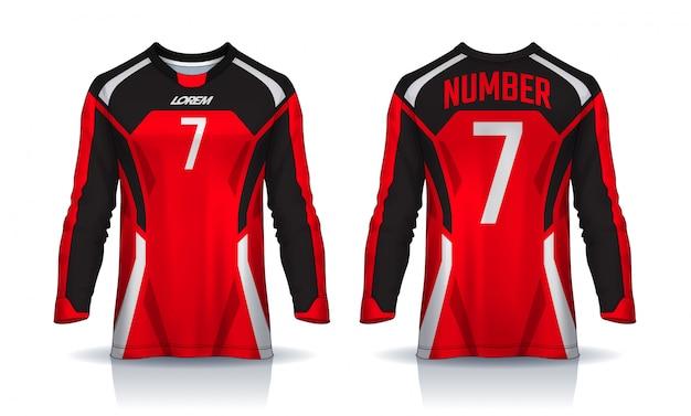 Szablon sportowy t-shirt, koszulka piłkarska z długim rękawem.
