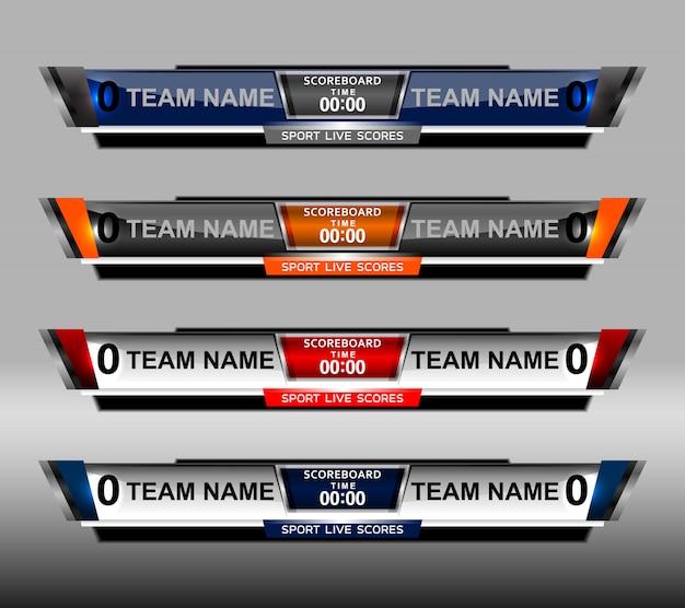Szablon sportu tablicy wyników dla piłki nożnej i piłki nożnej