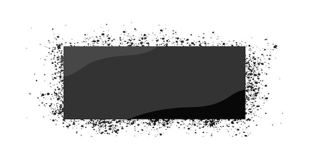 Szablon spray szara ramka na białym tle ilustracji wektorowych z kroplami rama w stylu grunge graffiti