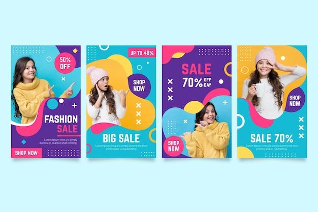 Szablon sprzedaży kolorowe historie instagram