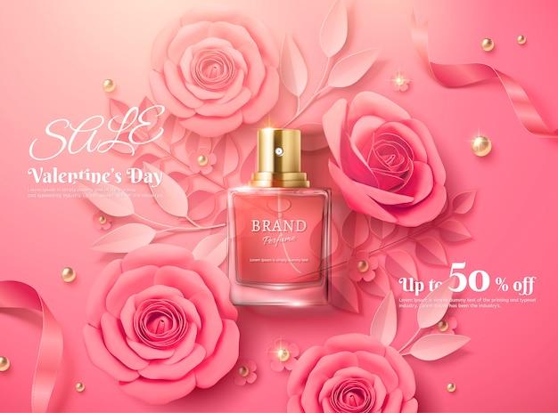Szablon sprzedaży walentynkowej z różowymi papierowymi kwiatami i produktem perfumeryjnym w ilustracji 3d, widok z góry