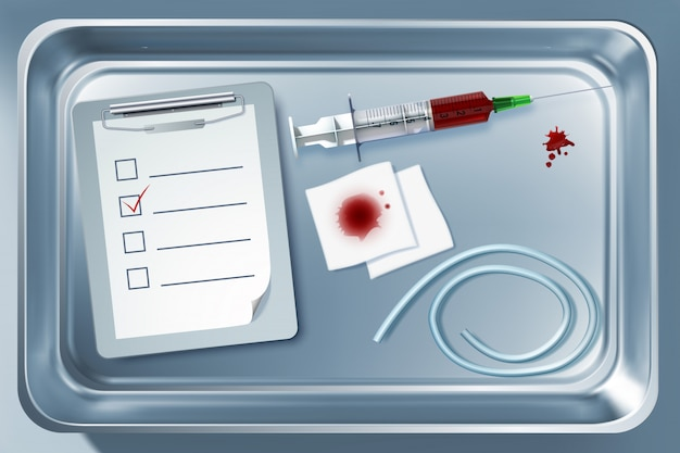 Szablon sprzętu medycznego z opaską uciskową z bandażem suringe na ilustracji metalowego sterylizatora