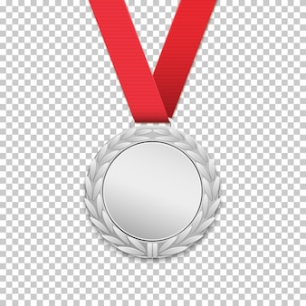 Szablon srebrny medal, realistyczna ikona ilustracja