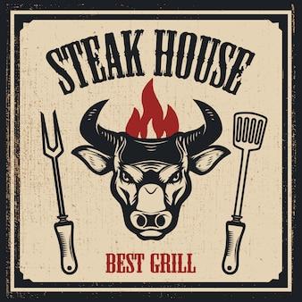 Szablon steak house. głowa byka z ogniem. elementy logo, etykiety, godło, znak. ilustracja