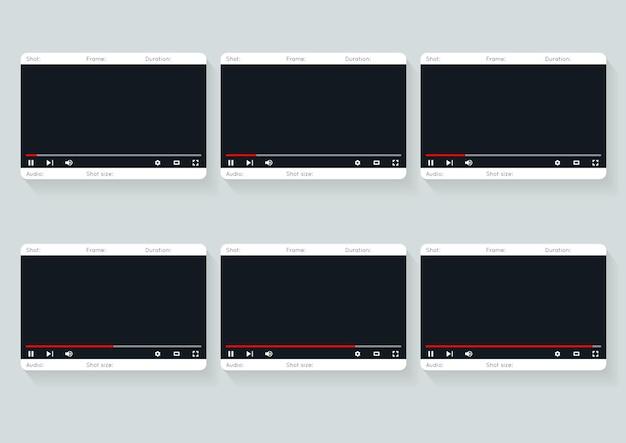 Szablon storyboardu filmowego. wideo 16 9 szablon projektu scenorysu