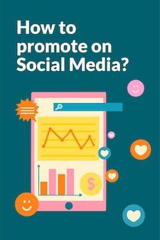 Szablon strategii marketingowej online w płaskiej konstrukcji dla mediów społecznościowych