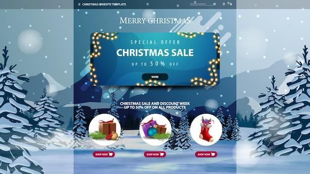 Szablon strony bożonarodzeniowej z banerem rabatowym