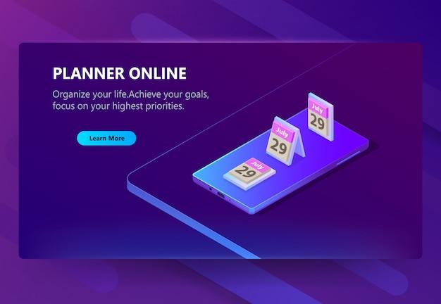 Szablon strony dla planisty online, harmonogram