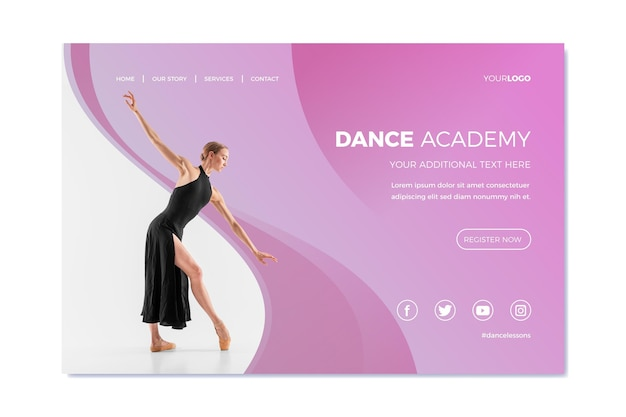 Szablon strony docelowej akademii tańca