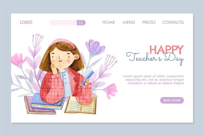 Szablon strony docelowej akwareli dla nauczycieli