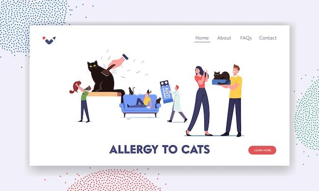 Szablon strony docelowej alergii kota. postacie z reakcją alergiczną na zwierzę domowe, mały doktor niosą ogromny środek antyhistaminowy do leczenia. mężczyzna trzymaj kota w respiratorze. ilustracja wektorowa kreskówka ludzie