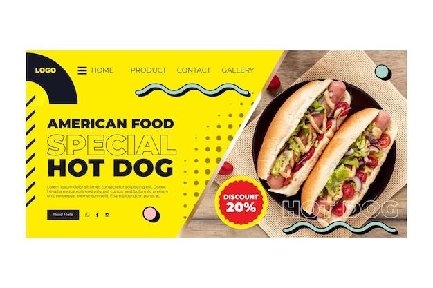 Szablon strony docelowej amerykańskiej żywności