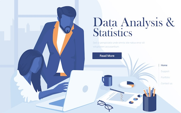 Szablon strony docelowej analizy danych i statystyk. młody mężczyzna i kobieta współpracują w obszarze roboczym. nowoczesna strona internetowa dla serwisu www i serwisu mobilnego