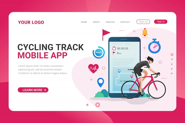 Szablon strony docelowej aplikacja mobilna do śledzenia jazdy na rowerze