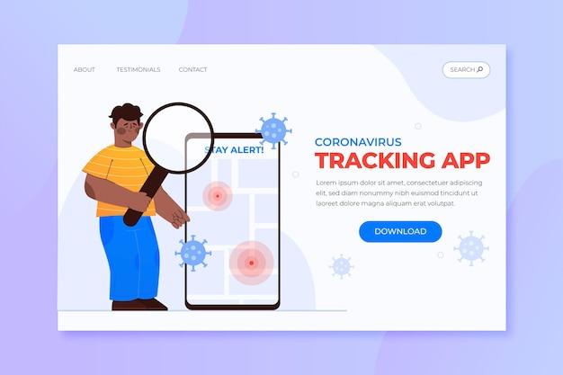Szablon strony docelowej aplikacji do śledzenia lokalizacji koronawirusa