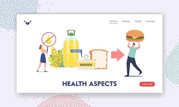 Szablon strony docelowej aspektów zdrowotnych. zatrzymaj olej rzepakowy, produkty do smarowania lub cholesterol. niezdrowe jedzenie tłuszczów trans, mały męski charakter połóż margarynę na ogromnym toście. ilustracja kreskówka wektor
