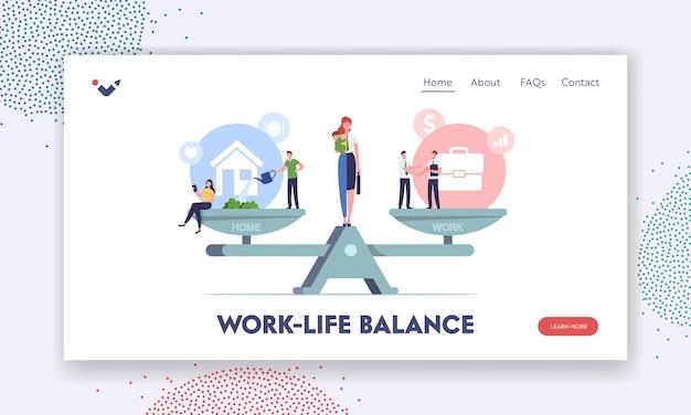 Szablon strony docelowej bilansu pracy i domu. postacie balansujące na wagach z wartościami życiowymi. kobieta rozdzielona na pół jako gospodyni domowa z dzieckiem i bizneswoman. ilustracja wektorowa kreskówka ludzie