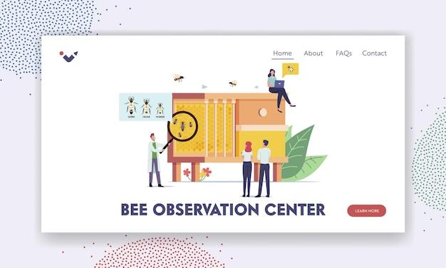 Szablon strony docelowej centrum obserwacji pszczół. małe postacie naukowców uczące się pszczół w ogromnym ulu z trzema rodzajami owadów królowa, dron i robotnik. ilustracja wektorowa kreskówka ludzie
