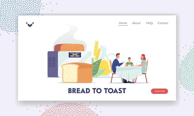Szablon strony docelowej chleba domowej roboty. szczęśliwa rodzina postaci siedzących przy stole, jedzących w pobliżu ogromnego świeżo upieczonego bochenka i elektrycznego piekarza, domowe jedzenie. ilustracja wektorowa kreskówka ludzie