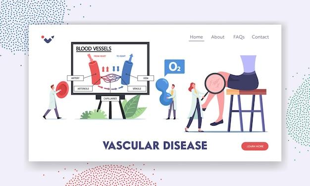 Szablon strony docelowej chorób naczyń. małe postacie lekarzy przedstawiające krążenie krwi w infografikach naczyń żylnych i tętniczych. noga z siateczką kapilarną. ilustracja wektorowa kreskówka ludzie