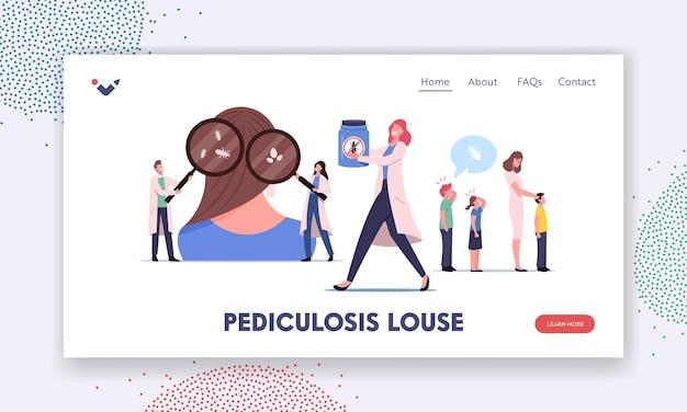Szablon strony docelowej choroby pediculosis. małe postacie lekarza szukające wszy na ogromnej głowie. pediatra sprawdza dzieci pod kątem zapobiegania pasożytom w szkole. ilustracja wektorowa kreskówka ludzie
