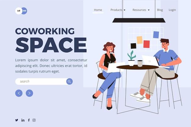 Szablon strony docelowej coworkingu