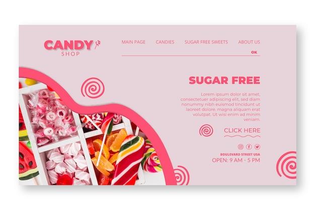 Szablon strony docelowej cukierków