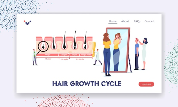 Szablon strony docelowej cykli wzrostu i utraty włosów. mały lekarz postać w ogromnym medycynie infografiki anagen, catagen, telogen. kobieta podziwiaj swojego kudłatego w lustrze. ilustracja wektorowa kreskówka ludzie