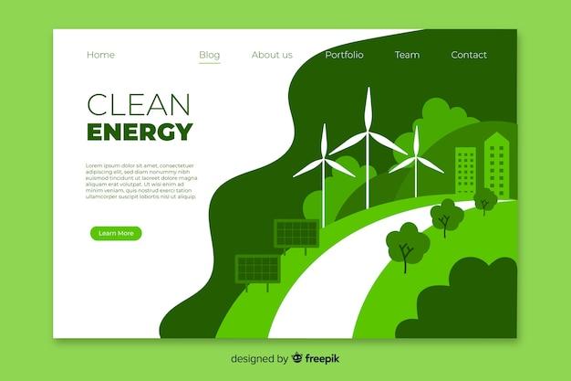 Szablon strony docelowej czystej energii