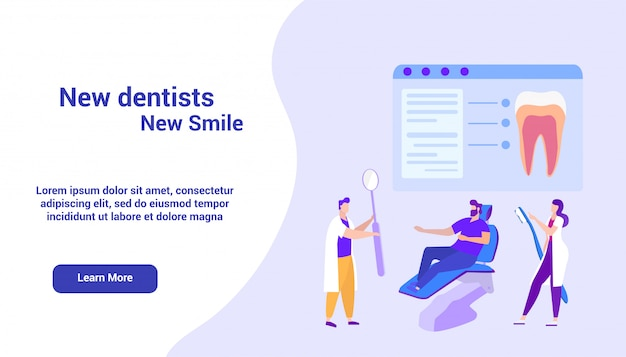 Szablon strony docelowej dla dentystów na monitorze. kurs online. nauka na odległość. e-learning