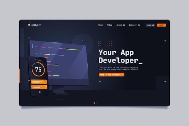 Szablon strony docelowej dla deweloperów aplikacji