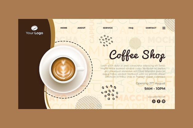 Szablon strony docelowej dla kawiarni
