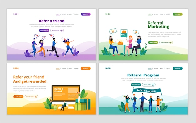 Szablon strony docelowej dla marketingu polecającego, marketingu afiliacyjnego, partnerstwa biznesowego i koncepcji programu polecającego