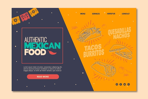 Szablon strony docelowej dla meksykańskiej restauracji spożywczej