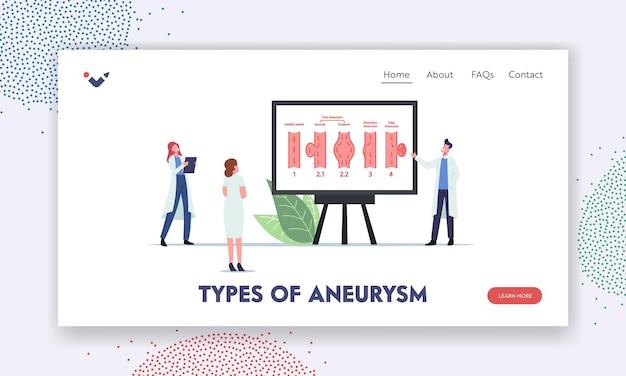 Szablon strony docelowej dla neuronauki i neurochirurgii. małe postacie doktora prezentujące ogromne infografiki z typami aneyrism na tętnicy. objawy choroby mózgu. ilustracja wektorowa ludzi z kreskówek