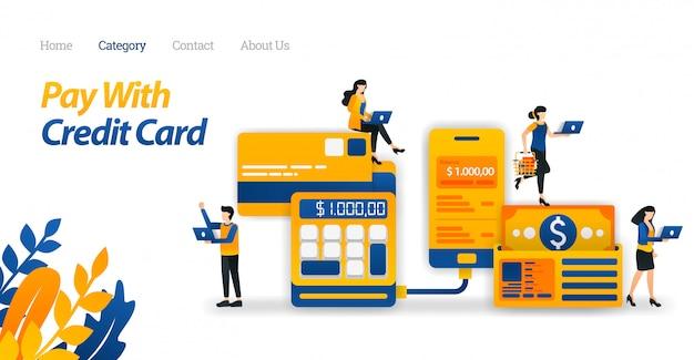 Szablon strony docelowej dla płatności kartą kredytową, aby ułatwić zarządzanie wydatkami i zaoszczędzić pieniądze. biznes. ilustracja wektorowa