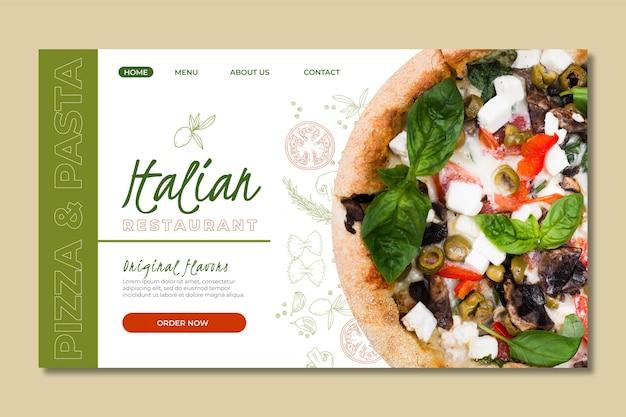 Szablon strony docelowej dla restauracji włoskiej